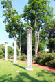 Ancient Greek columns displayed in garden setting at Vanderbilt Mansion. Centerport, NY.