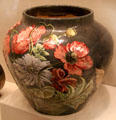 Earthenware jardinière with poppies by Henrietta Dana Leonard McLaughlin fired at Frederick Dallas Hamilton Road Pottery at Cincinnati Art Museum. Cincinnati, OH.
