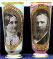 Milk glass vases with portraits of First Lady Lucy Webb Hayes & Rutherford B. Hayes at Hayes Presidential Center. Fremont, OH.