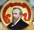 Souvenir plate portrait of President Rutherford B. Hayes for his visit to Philadelphia Centennial Exposition at Hayes Museum. Fremont, OH.