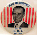 Lyndon Baines Johnson LBJ campaign button. Fremont, OH.