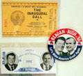 Ronald Reagan - George Bush campaign button & Inauguration tickets. Fremont, OH.