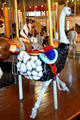 Ostrich on Merry-Go-Round Museum's working carousel. Sandusky, OH.