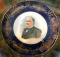 William McKinley campaign souvenir plate by Knowles, Taylor & Knowles China, East Liverpool, OH at Ida Saxton McKinley Historic House. Canton, OH.