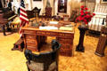 Partner's desk and carved armchair, furnishings at McKinley White House at William McKinley Presidential Museum & Library. Canton, OH.