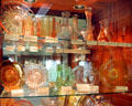 Amber & other colors of Heisey glass at National Heisey Glass Museum. Newark, OH.