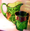 Pineapple & Fan pitcher & mug in Emerald color at National Heisey Glass Museum. Newark, OH.