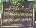 Sign marking site of first Wendy's Restaurant on Broad St. Columbus, OH.