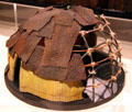 Model of Ojibwa dome-shaped wigwam made of bent saplings & bark at Johnston Farm Museum. Piqua, OH.