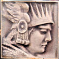 Art tile with Indian face at Johnston Farm Museum. Piqua, OH.