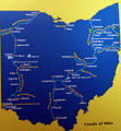 Map of two primary canal systems of early Ohio at Johnston Farm Museum. Piqua, OH