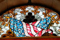 Stained glass window with American flags in Cleveland's Soldiers' & Sailors' Monument. Cleveland, OH.