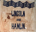 Lincoln-Hamlin campaign banner with rail-splitter design at Cleveland History Center. Cleveland, OH.