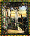 Landscape with Greek Temple stained glass window detail by Louis Comfort Tiffany at Cleveland Museum of Art. Cleveland, OH.