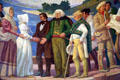 Detail of mural of Dr. McLouchlin welcoming first white women to Fort Vancouver in Oregon State Capitol. Salem, OR.