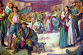 Detail of mural of settlers on great wagon train migration at the Dalles in Oregon State Capitol. Salem, OR.