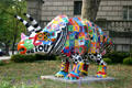 Street art of triceratops covered with alphabet. Pittsburgh, PA