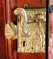 Library door handle & lock with scallop shell & stalactites at Marble House. Newport, RI.
