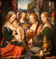 Madonna & Child with St. Barbara & St. Catherine painting by unknown of Netherlands at RISD Museum. Providence, RI.