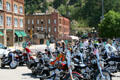 Bikers parked on wild west streets of Deadwood. Deadwood, SD.