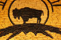Buffalo on corn mural at Mitchell Corn Palace. Mitchell, SD.