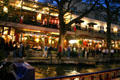 Riverwalk restaurants at night. San Antonio, TX.