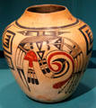 Ceramic Hopi jar with abstract birds at Museum of Fine Arts, Houston. Houston, TX.