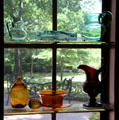 Collection of early American colored glass at Bayou Bend. Houston, TX.