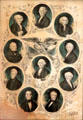 Graphic with ten U.S. presidents at Kellum-Noble House at Sam Houston Park. Houston, TX.
