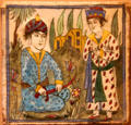 Earthenware tile with two Persian figures from Iran at San Antonio Museum of Art. San Antonio, TX.