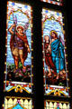 Stained glass windows of St. Michael & St. Raphael at San Fernando Cathedral. San Antonio, TX.
