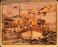 Bubblegum card depicting Japanese attack on HMS Ladybird on Yangtze River in China at National Museum of the Pacific War. Fredericksburg, TX.