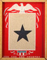 WWII Blue star banner hung on family door with star for each service member from family at National Museum of the Pacific War. Fredericksburg, TX.