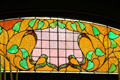 Detail of colored art glass panel in breakfast room at McFaddin-Ward House. Beaumont, TX.