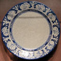 Crackle glaze plate with ring of rabbits by Dedham Pottery of MA at Dallas Museum of Art. Dallas, TX.