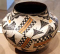 Ceramic abstract water jar by Acoma people of NM at Dallas Museum of Art. Dallas, TX.