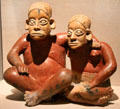 Ceramic Ameca seated man & woman from Colima, Mexico at Dallas Museum of Art. Dallas, TX.