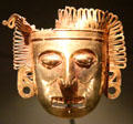 Gold Mixtec pectoral mask from Oaxaca, Mexico at Dallas Museum of Art. Dallas, TX.