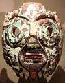 Turquoise Mixtec-Aztec mask from Mexico at Dallas Museum of Art. Dallas, TX.
