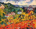 Bougival painting by Maurice Vlaminck in Reves Collection at Dallas Museum of Art. Dallas, TX.