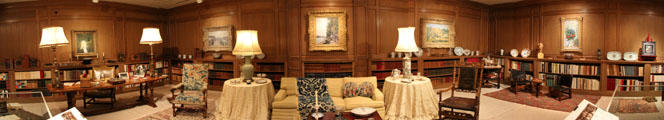 Panorama of recreated library of Reves house at Dallas Museum of Art. Dallas, TX.