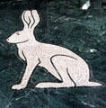 Black-tailed Jackrabbit limestone floor mosaic detail in Great Hall of State at Fair Park. Dallas, TX.