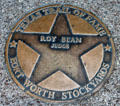 Judge Roy Bean star on Texas Trail of Fame in Stock Yards historic district. Fort Worth, TX.