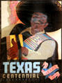 Hispanic musician on Texas Centennial Exposition poster at Bullock Texas State History Museum. Austin, TX.