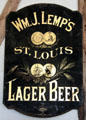 Advertising sign for Wm. J. Lemp`s, St. Louis, Lager Beer inside Star Exchange at Conservation Plaza. New Braunfels, TX.