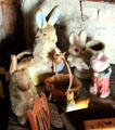 Toy rabbit collection in Moehrig Blank House at Conservation Plaza. New Braunfels, TX.