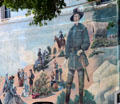 Mural celebrates Texas pioneers. New Braunfels, TX.