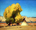 Lazy Autumn painting of native campsite by Maynard Dixon at BYU Museum of Art. Provo, UT.