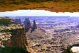 Canyonlands National Park landscape framed by overhang. UT