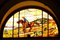 Pony Express stained glass window at Union Pacific Railroad depot. Salt Lake City, UT.